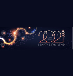 Happy new 2021 year elegant gold text with light vector