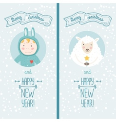 Happy new year card with boy and sheep vector