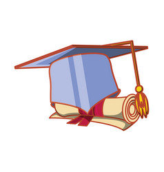 hat graduation with certificate isolated icon vector image