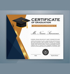 High school diploma certificate template design vector