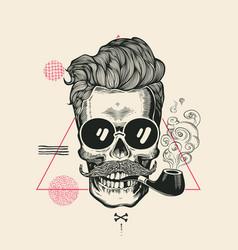 Hipster skull smoke pipe print vector