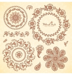 Indian mehndi round frames set vector image
