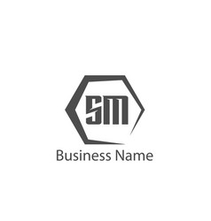 initial letter sm logo template design vector image