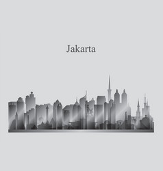 Jakarta city skyline silhouette in grayscale vector