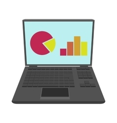 Laptop with business graph icon cartoon style vector image