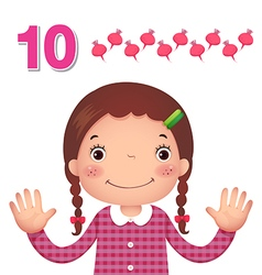 Learn number and counting number ten vector