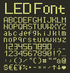 Led digital alphabet and numbers set yellow led vector