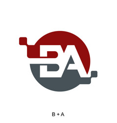 Letter b and a with digital icon concept vector