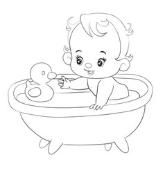 little baby bathes in a bathtub with a rubber duck vector image