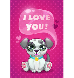 little cute cartoon sitting dalmatian puppy saying vector image
