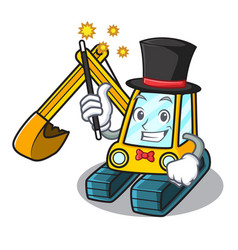 Magician excavator mascot cartoon style vector