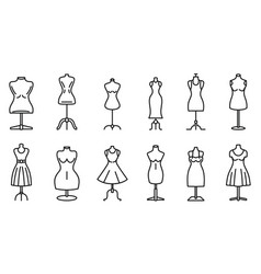 Mannequin atelier icons set outline style vector
