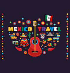 mexico colorful symbols composition vector image