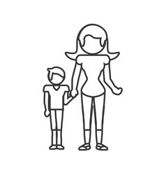 mother and son relation outline vector image