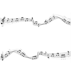 music notes moving on flow chords and shadow vector image