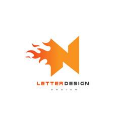 N letter flame logo design fire logo lettering vector