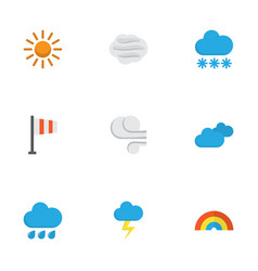 Nature flat icons set collection of storm the vector