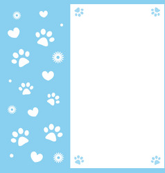 Paw prints and hearts on a blue frame card vector