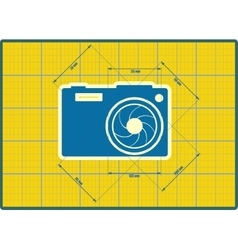Photo camera icon Blueprint style vector image