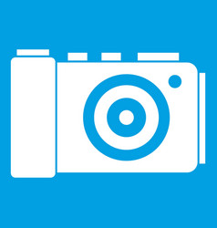 Photo camera icon white vector