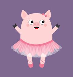 Pig bellerina piggy piglet ballet dancer dressed vector