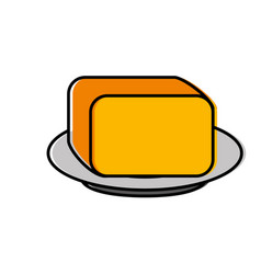 Plate with butter icon vector