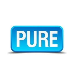Pure blue 3d realistic square isolated button vector