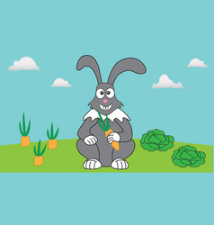 Rabbit rests in his garden among carrots and vector