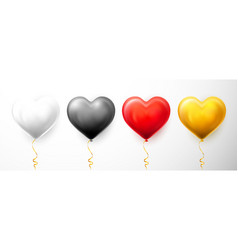 realistic heart balloon with shadow shine helium vector image