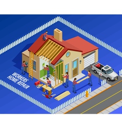 Repair Works Isometric Template vector image