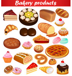 set baking with bread loaf pie cake donuts and vector image
