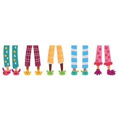 Set children pajama slippers vector