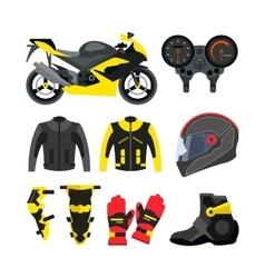 set motorcycle accessories design vector image
