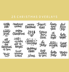 set of christmas hand drawn ink lettering vector image