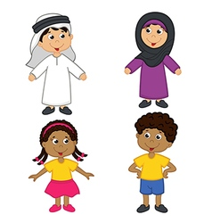 Set of isolated children of muslim and african vector