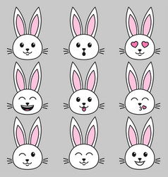 Set white cute rabbits on grey background vector