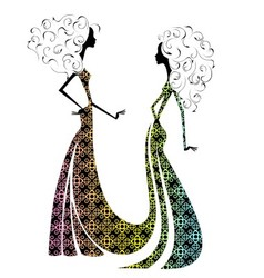 Silhouette of two beautiful girls2 vector image