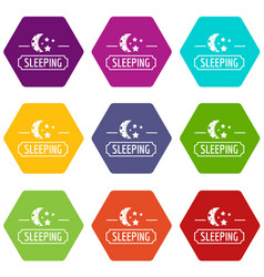 Sleeping moon icons set 9 vector