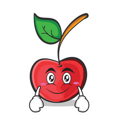 smile face cherry character cartoon style vector image vector image