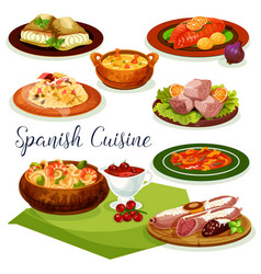 Spanish cuisine dinner menu cartoon icon design vector
