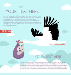 stork and a baby vector image