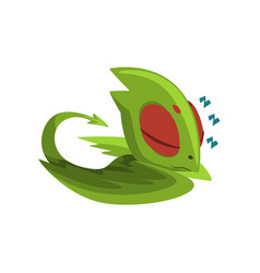 sweetly sleeping baby dragon cartoon character of vector image