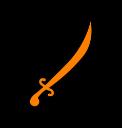 sword sign orange icon on black vector image