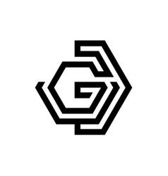 Technology design letter g shaped hexagon style vector