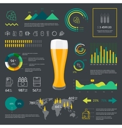 Thin line color beer infographic vector