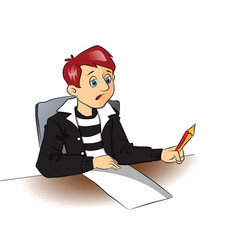 thoughtful student with pencil and blank paper vector image
