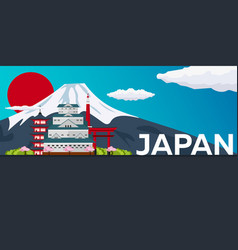 Travel banner to japan flat vector