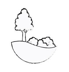 Tree and bushes natural leaf stem sketch vector
