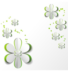 White Paper Flower in Green background vector
