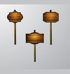wooden blank cartoon sign board vector image